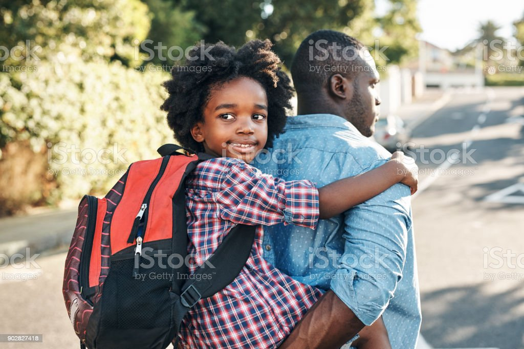 Its The Best When Dad Gives Piggyback Rides Stock Photo