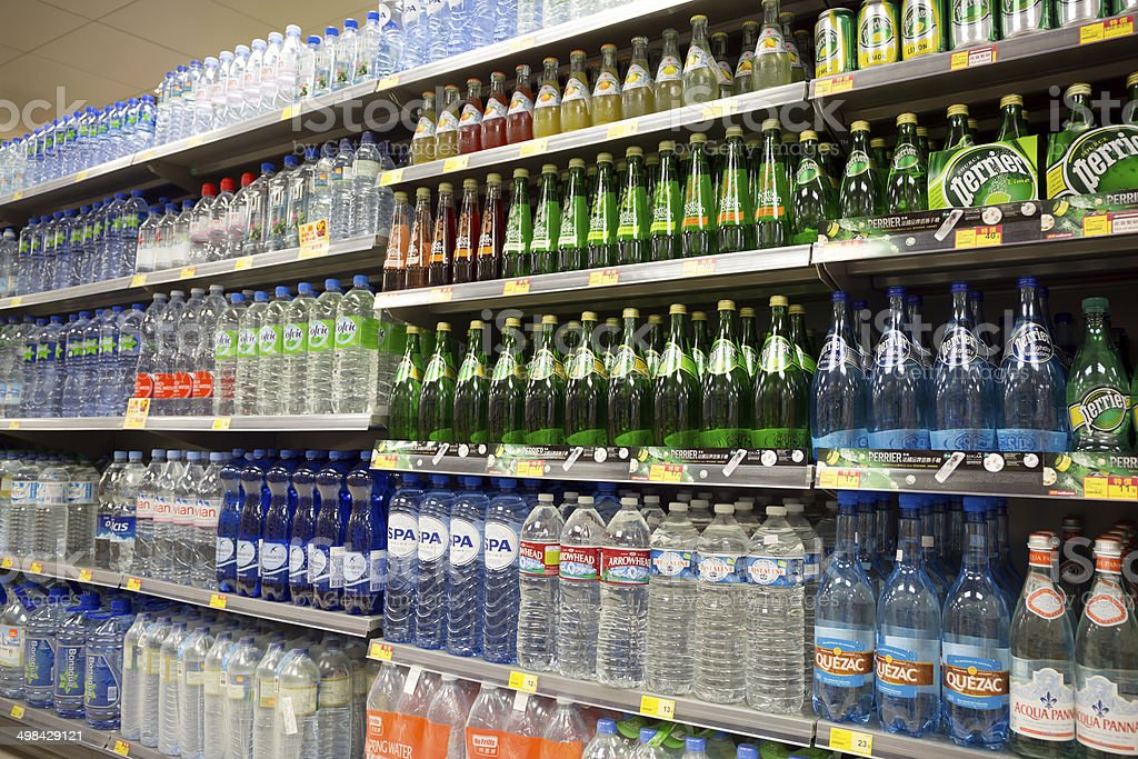It's the centrepiece of the supermarket Bottled water display. stock photo