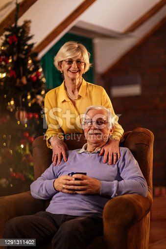 Portrait shot of a happy senior couple spending Christmas in their living room