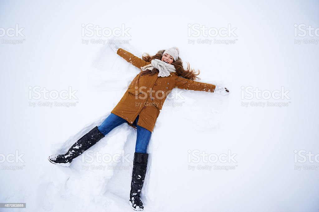 It's the perfect snow angle stock photo