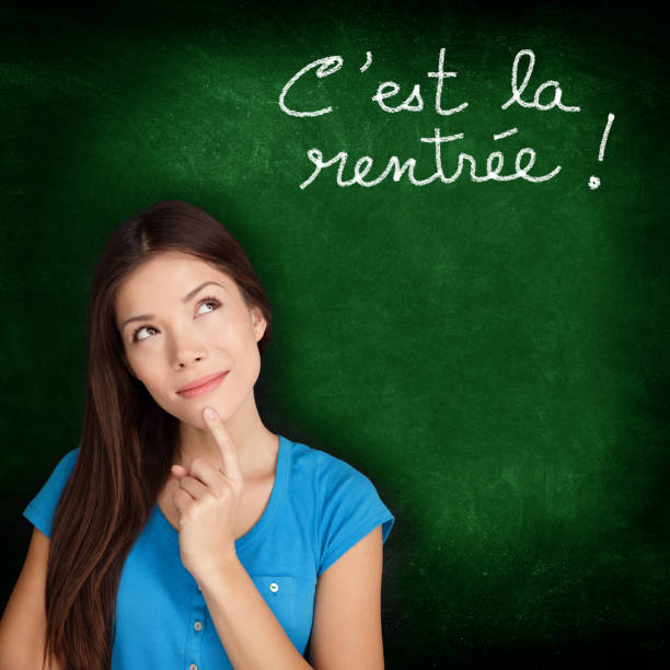 It's the School Home - French back to school Cest la Rentree Scolaire - French college university student woman thinking Back to School written in French on blackboard by female on green chalkboard. French language at college or high school. ecole stock pictures, royalty-free photos & images