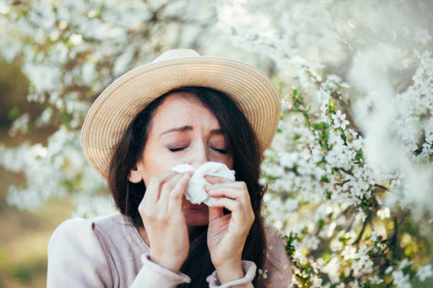 It's the season of sneezes One Woman Only, Women, Adult, 20-29 Years, Adults Only allergy stock pictures, royalty-free photos & images