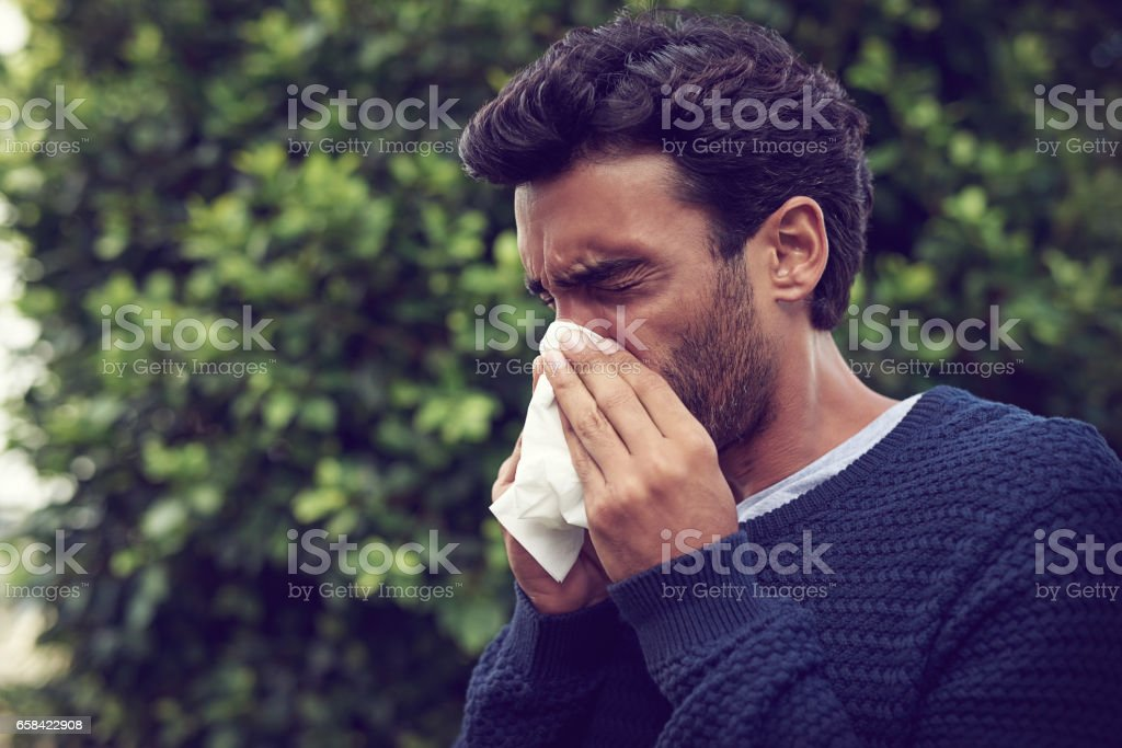It's the season of sneezes stock photo