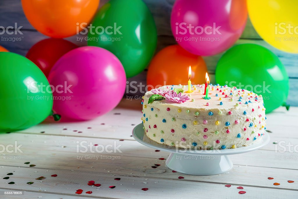 It's time to share birthday cake stock photo