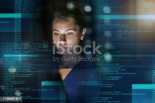 Shot of a young woman working on code during a late night at work