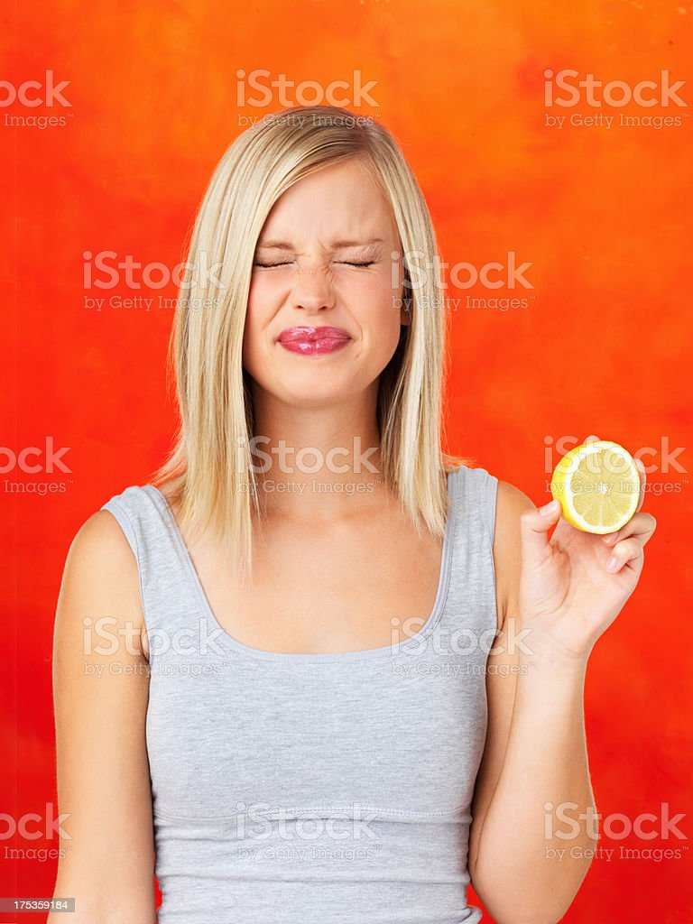 Its very sour stock photo