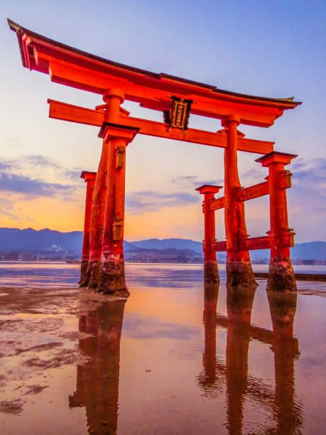Itsukushima Floating Torii Gate in Miyajima, Japan stock photo