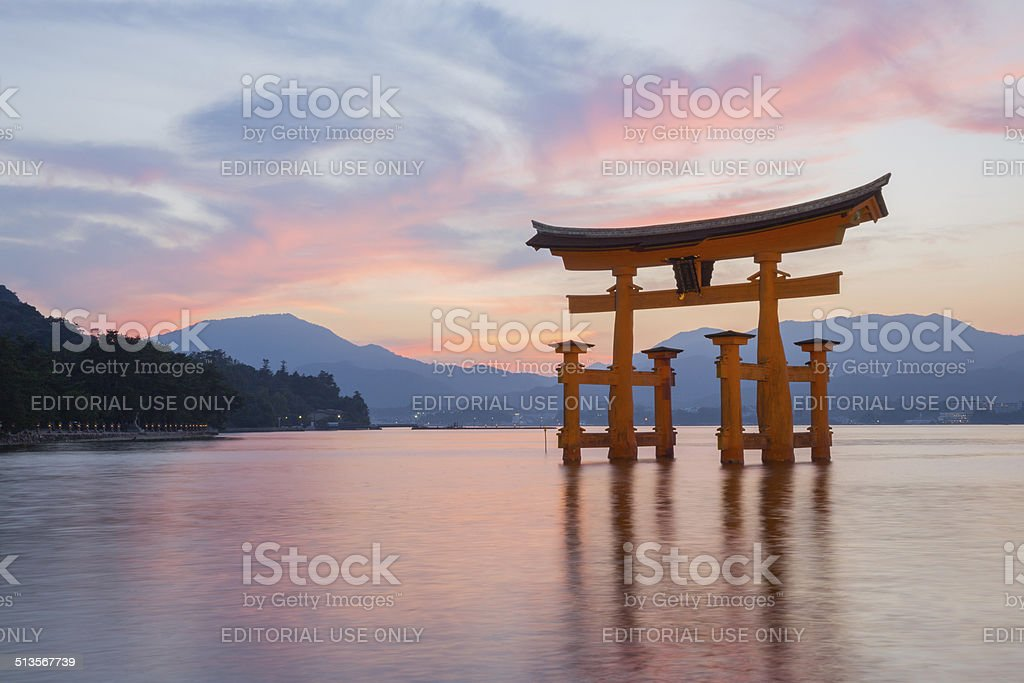 Itsukushima Shinto shrine on Miyajima in Japan stock photo