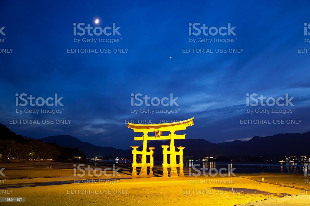 Itsukushima Shrine at low tide on Miyajima island, Japan stock photo