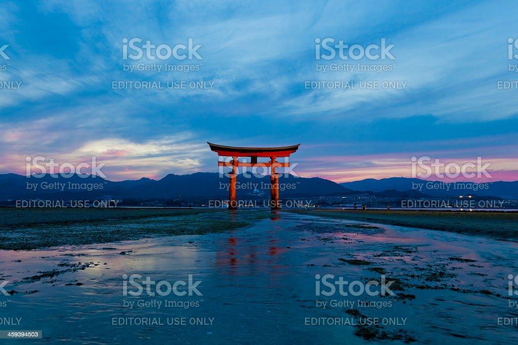 Itsukushima Shrine at low tide on Miyajima island, Japan royalty-free stock photo