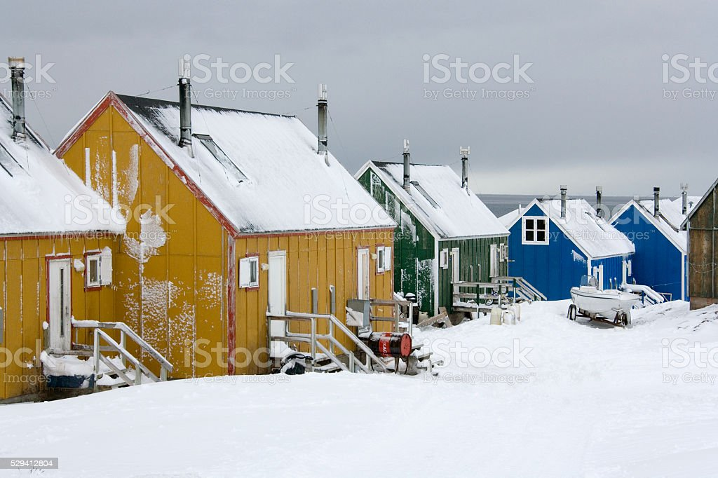 Ittoqqortoormiit at entrance to Scoresbysund - Greenland stock photo