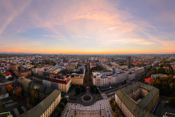 ityscape of Ostrava in sunset, Czech Republic ityscape of Ostrava in sunset, Czech Republic, Europe. brno stock pictures, royalty-free photos & images