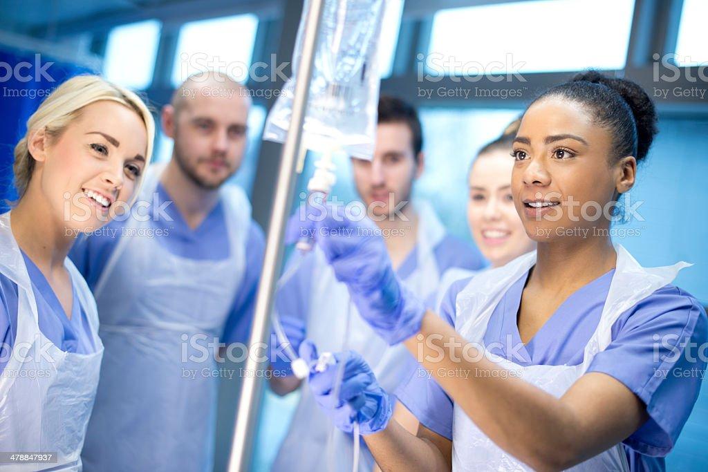 iv nurse training stock photo
