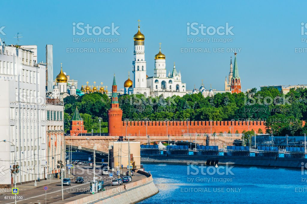 Ivan the Great belfry and the Kremlin stock photo
