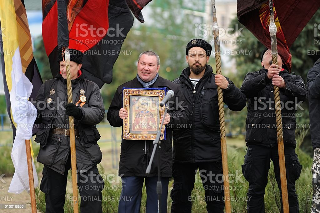 Ivan the Terrible monument opening ceremony. People in black uniforms stock photo