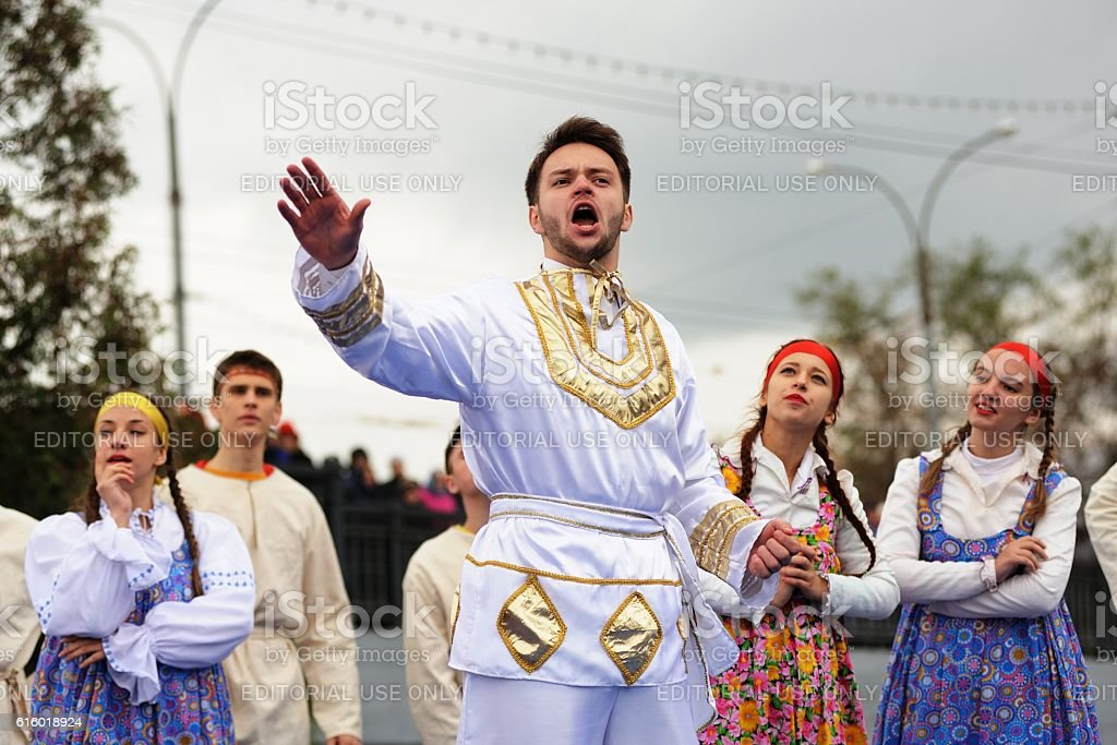 Ivan the Terrible monument opening ceremony. Singer and dancers stock photo