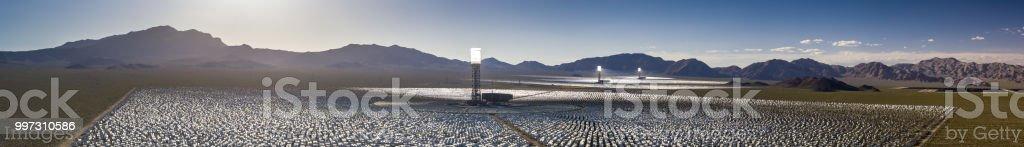 Ivanpah Solar Thermal Plant - Aerial Panorama stock photo