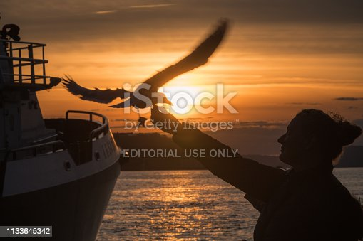 Seattle, USA - February 21, 2018: A woman feeding seagulls at Ivars Fish Bar on the waterfront in Seattle at sunset.