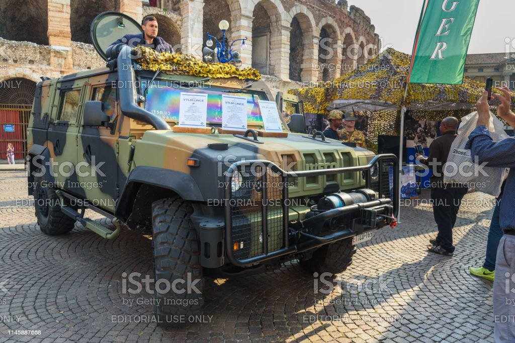 Iveco LMV Light Multirole Vehicle is a 4WD tactical vehicle developed by Iveco at open military exhibition in Verona. Italy stock photo