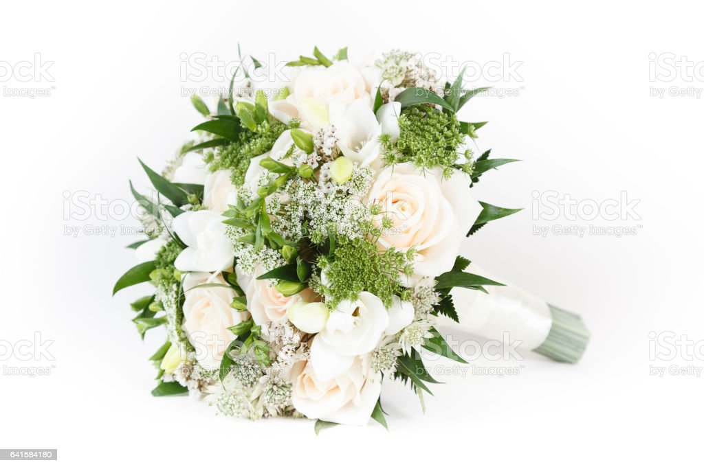 Ivory and green wedding bouquet of roses and freesia flowers