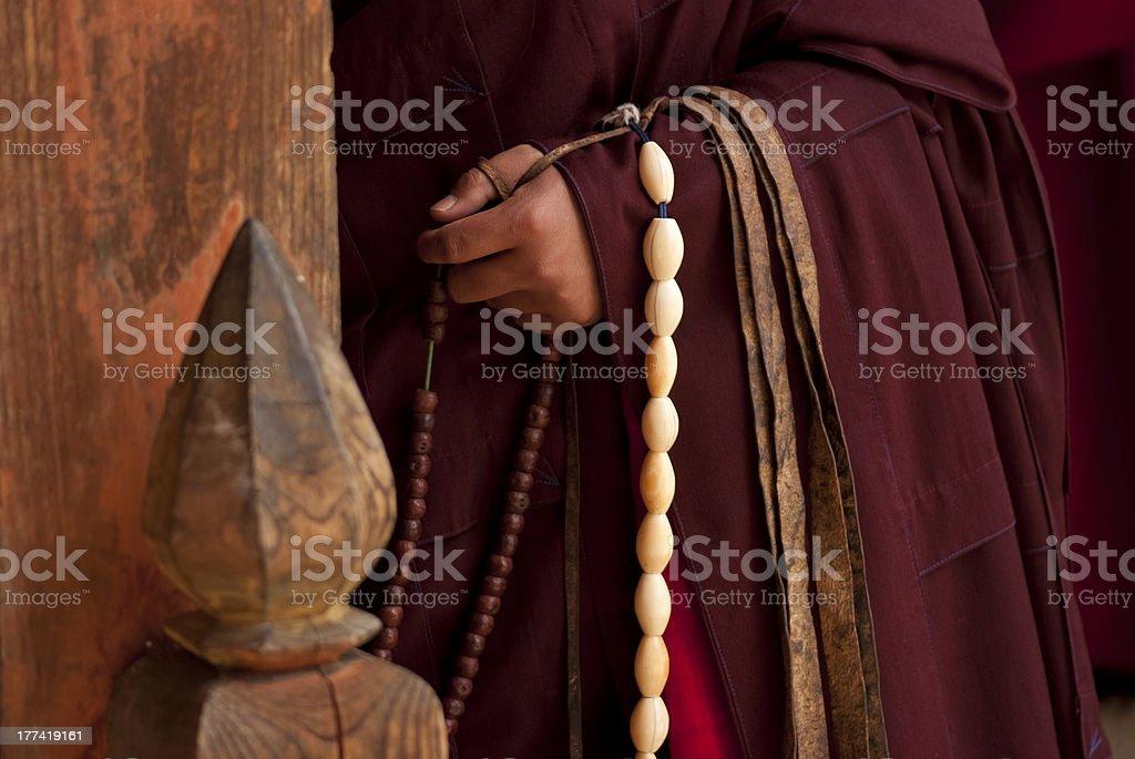 Ivory Buddhist prayer beads royalty-free stock photo