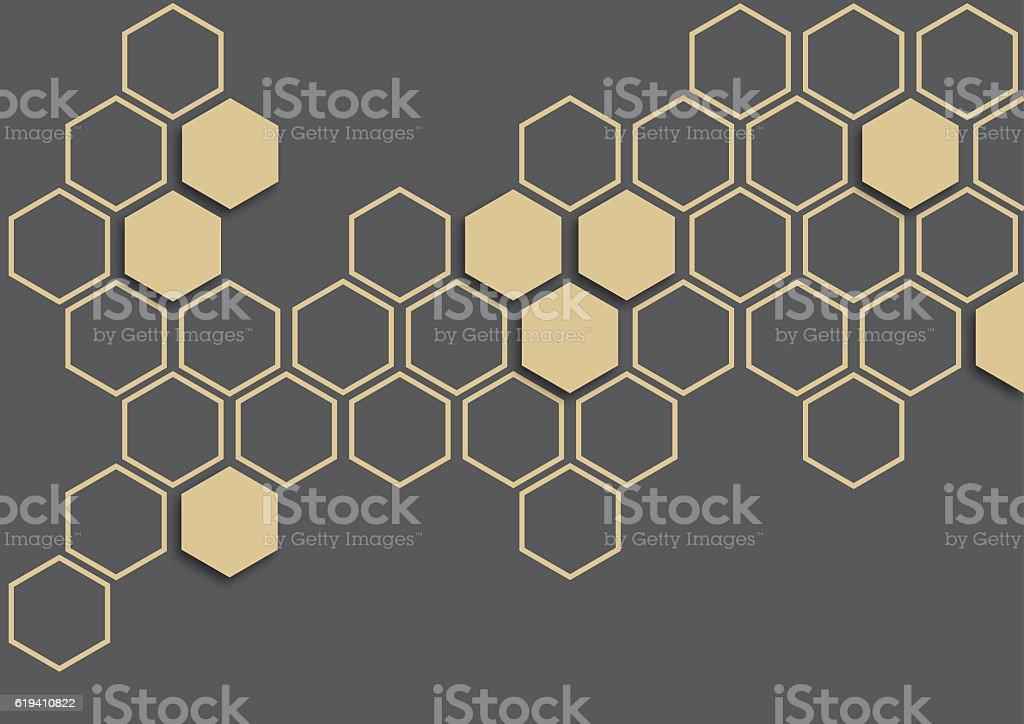 Ivory hexagon on dark grey background stock photo