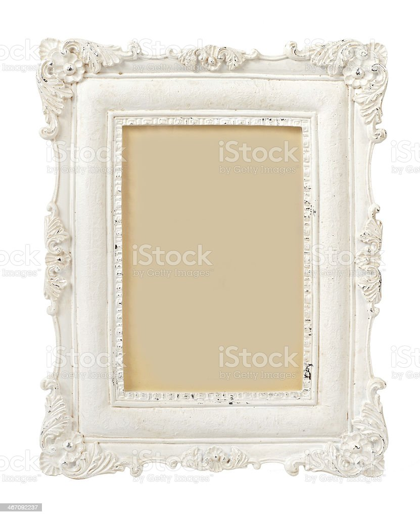 Ivory vintage empty photo frame stock photo