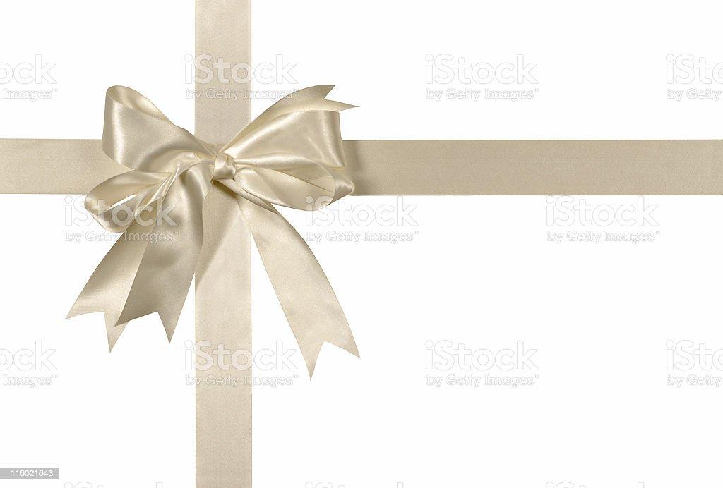 Ivory white wedding ribbon and bow royalty-free stock photo
