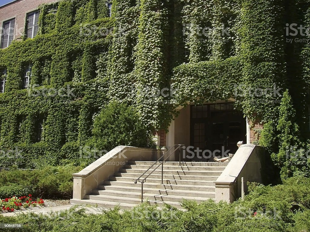 Ivy covered campus building with student royalty-free stock photo