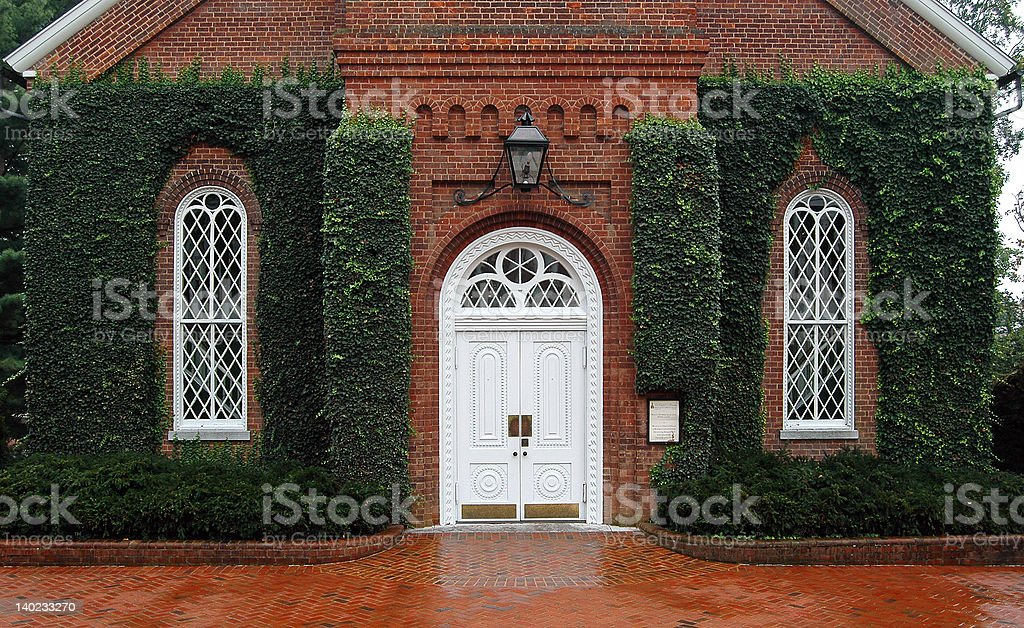 Ivy covered windows of Lee Chapel in Lexington Virginia