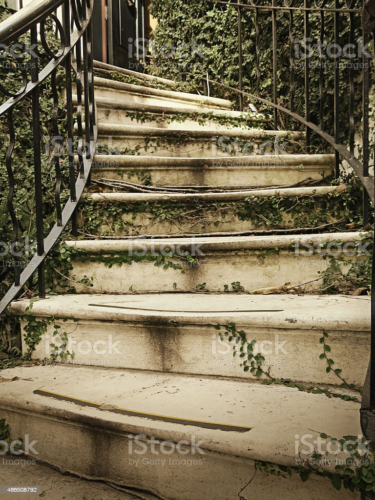 Ivy Covered Savannah Curved Staircase and Black Railing - Royalty-free 2015 Stock Photo