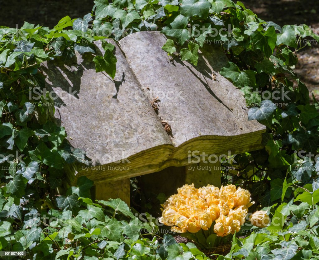 Ivy Overgrown Tombstone In Shape Of An Open Book With Yellow Flowers