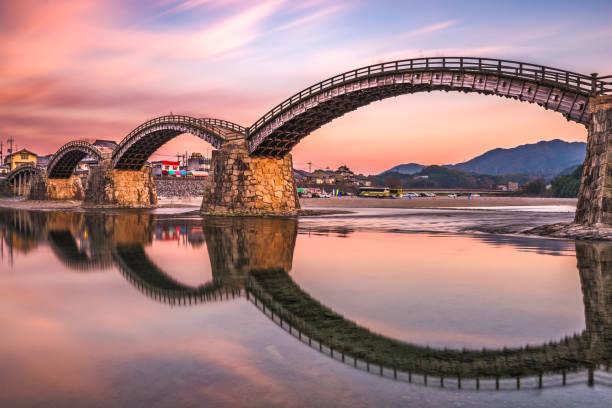 iwakuni köprüsü, japonya - hiroshima stok fotoğraflar ve resimler