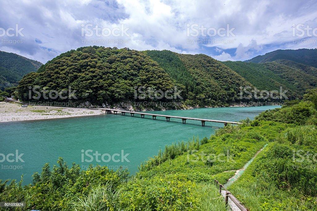 Iwama Low Water Crossing (Kochi Prefecture Shimanto) in Japan stock photo