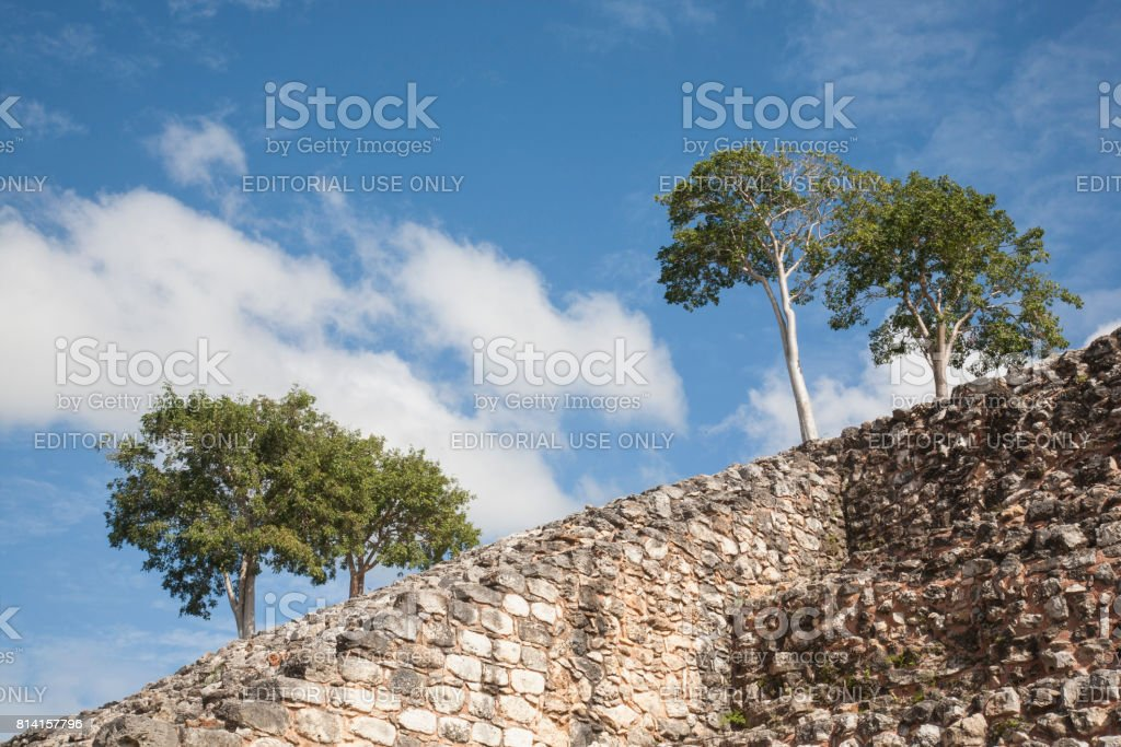 Izamal: Kinich Kak Moo Stones and Trees 4 stock photo