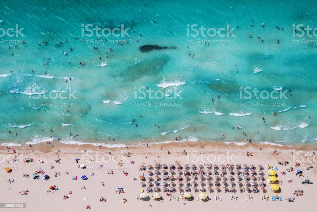 Izmir Cesme Ilıca Beach Aerial Photo taken in summer. stock photo