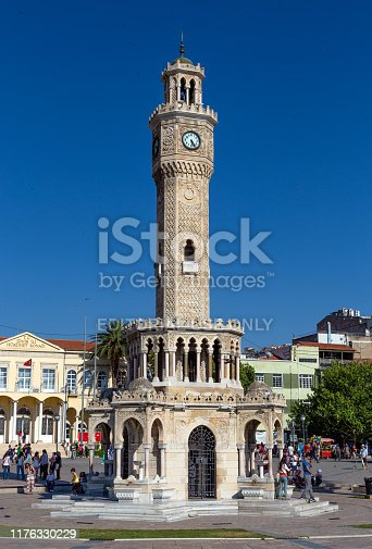 IZMIR, TURKEY - JUNE 21: The famous Konak square on June 21, 2013 in Izmir, Turkey. At the center of the square is the Izmir Clock Tower, the most recognized landmark of the city.