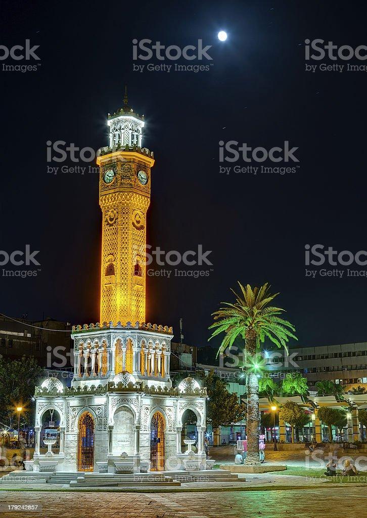 Izmir Clock Tower under the moonlight, Turkey royalty-free stock photo