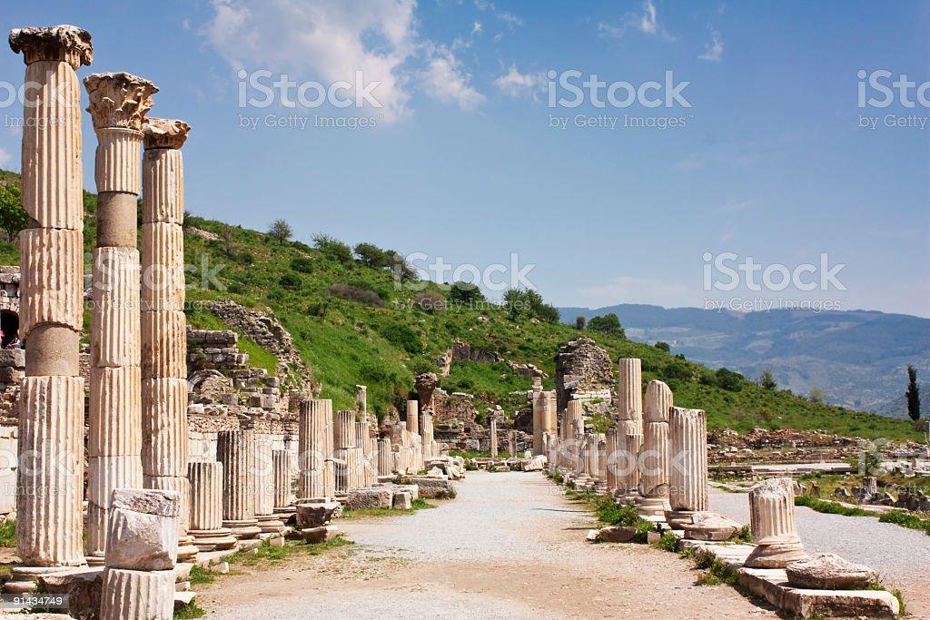 izmir ephesus antique theatre, tourism travel destination stock photo