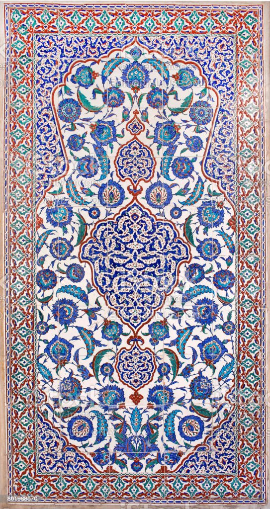 Iznik lapis tiles with floral pattern in Istanbul, Turkey stock photo