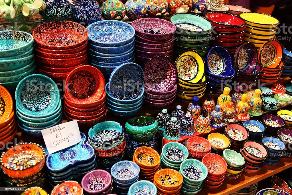 Iznik Pottery Bowl display handicraft Design Misir Carsisi Spice royalty-free stock photo