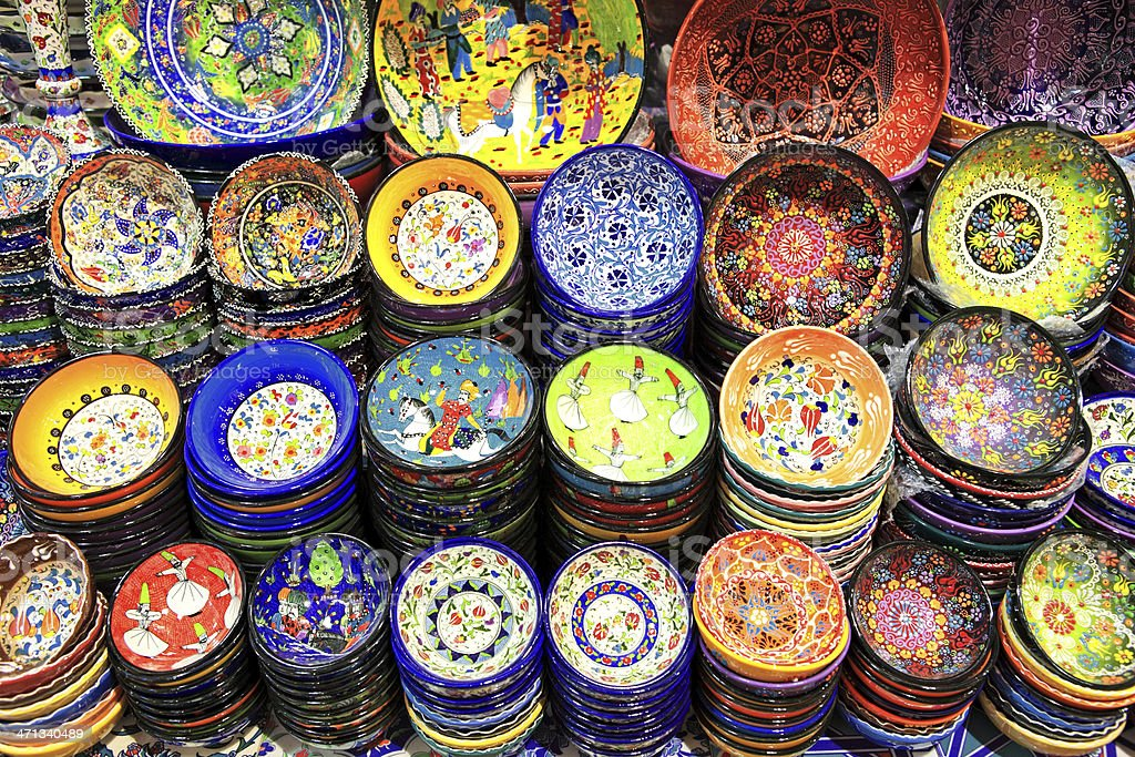 iznik pottery stock photo