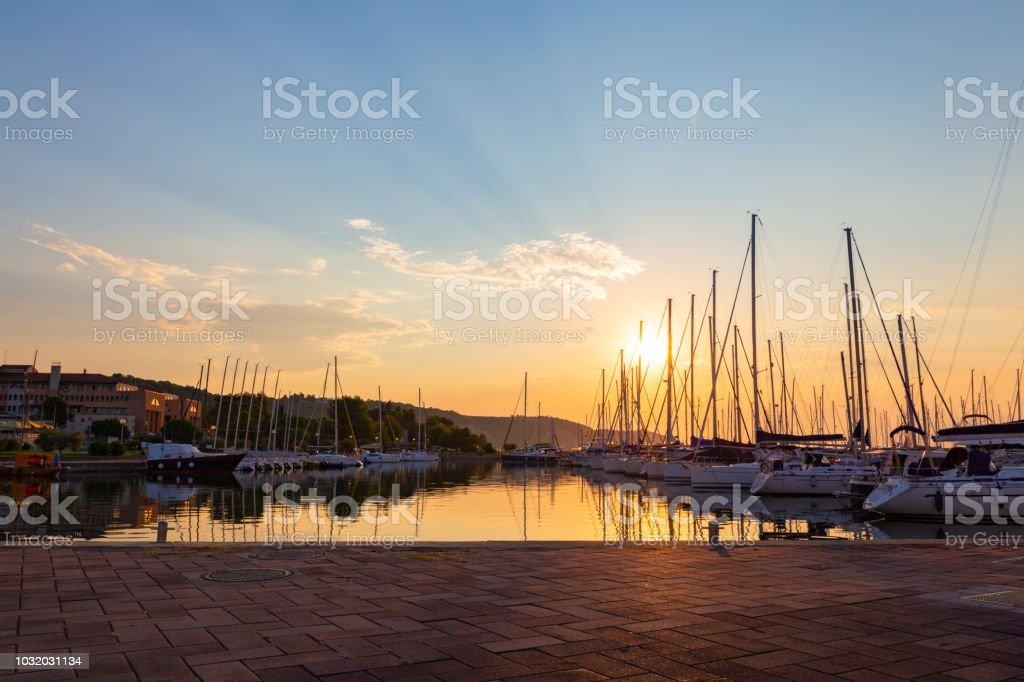 Izola in sunset, Slovenian coast stock photo