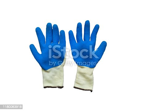 Izolated construction rubberized gloves on a white background. Blue protective gloves for construction and operation with caustic substances. Rubber gloves for repair.