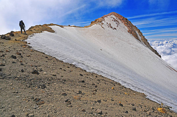 Iztaccihuatl, Final Summit Ridge, Trans-Mexican Volcanic Belt, Mexico Iztaccihuatl, Final Summit Ridge, Trans-Mexican Volcanic Belt, Mexico orizaba stock pictures, royalty-free photos & images