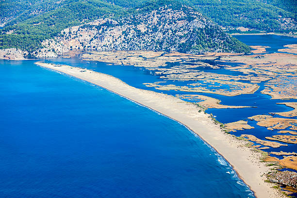 Iztuzu beach and the delta of Dalyan river, Dalyan, Mugla stock photo