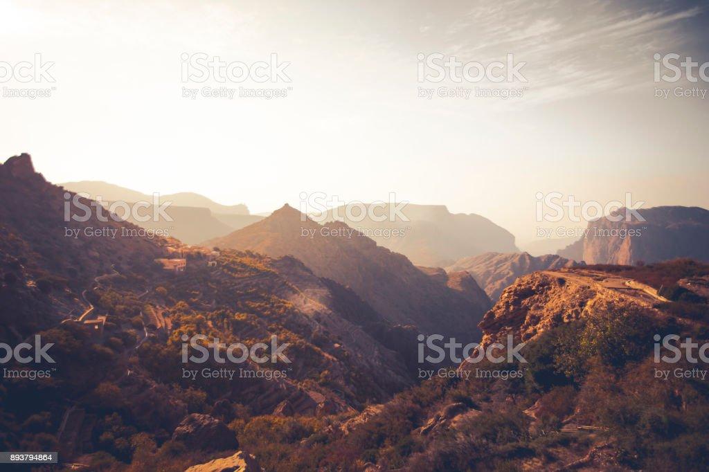jabal akhdar mountain range, oman stock photo