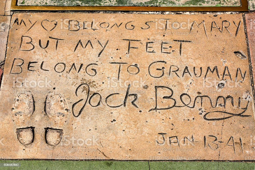 Jack Benny hand and shoe prints in Hollywood CA stock photo