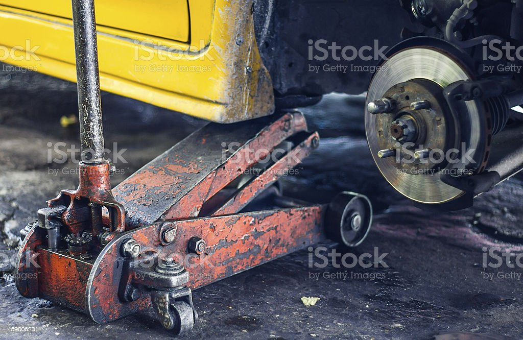 Jack car lift stock photo