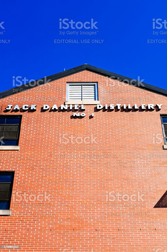 Jack Daniels brick distillery building in Lynchburg, Tennessee stock photo